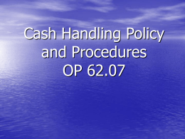 Cash Handling Policy and Procedures - Internal Audit