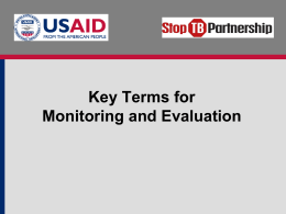 Key Terms for Monitoring and Evaluation