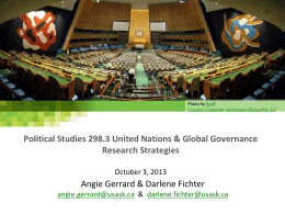 Political Studies 298.3 United Nations & Global Governance