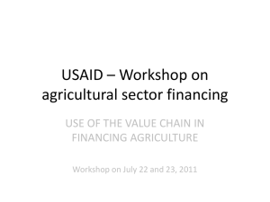 Use of the Value Chain in Financing Agriculture