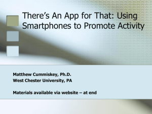 There`s An App for That: Using Smartphones to Promote