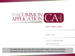 First Look at the Common Application