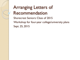 Sept. 25 Senior Meeting- Letters of rec and Common App