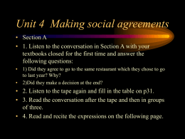 Unit 4 Making social agreements