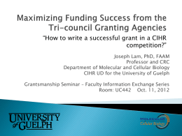 How to write a successful grant in a CIHR competition?