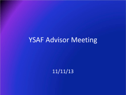 YSAF Advisor Meeting Presentation