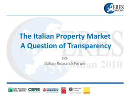 The Italian Property Market: A Question of Transparency
