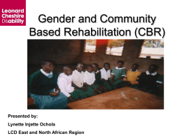 Gender and Community Based Rehabilitation