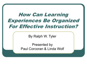 How Can Learning Experiences Be Organized For