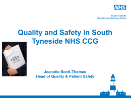 Quality and safety - South Tyneside Clinical Commissioning Group