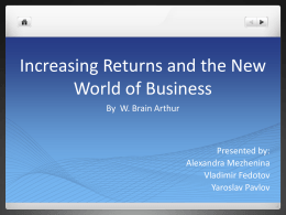 Increasing Returns and the New World of Business