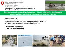 CEDRIG tools - SDC Disaster Risk Reduction Network