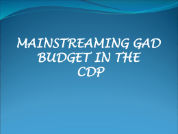 What is a GAD Budget? - Philippine Federation of Local Councils of