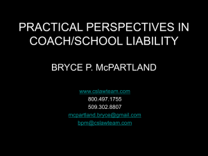 PERSPECTIVES ON LIABILITY For Coaches