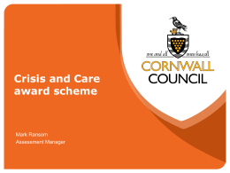 Crisis and Care Award Scheme