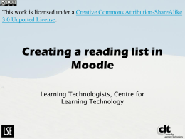 Creating a Reading list in Moodle