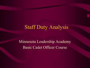 CAP Organization, Staff Duty Analysis, and the Cadet Officer