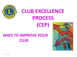 CLUB EXCELLENCE PROCESS (CEP)