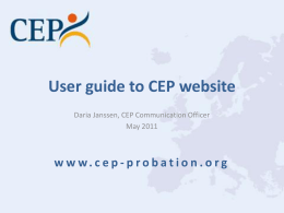 User guide to CEP website