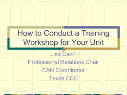 How to Conduct a Training Workshop for Your Unit
