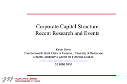 Corporate Capital Structure - CBA