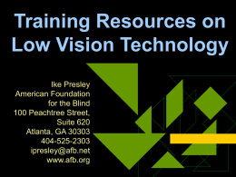 Training Resources on Low Vision Technology