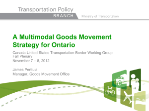 A Multimodal Goods Movement Strategy for Ontario