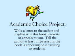 Academic Choice Project: