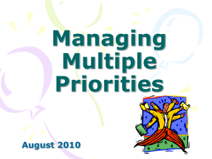 Managing Multiple Priorities - AIM-IRS