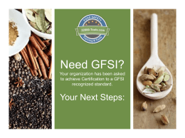 Need GFSI? Your organization has been asked to