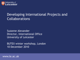 Developing International Projects and Collaborations