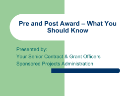 Pre and Post Award – What You Should Know