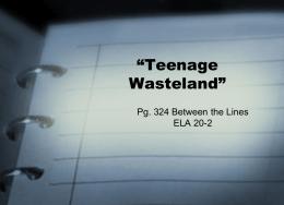 teenage wasteland short story