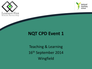 NQT CPD Event 1 - Learners First