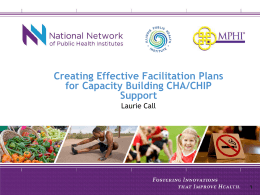 Creating Effective Facilitation Plans for Capacity Building CHA/CHIP