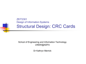 CRC cards - School of Engineering and Information Technology