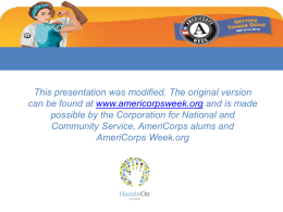 AmeriCorps Week Media and Promotions Kit