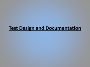 Test Design and Documentation