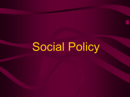 Introduction into Social Policy