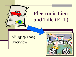 California`s Electronic Lien and Title Program