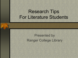 Research Tips Slideshow