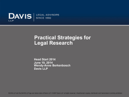 HS2014 Practical Strategies - Edmonton Law Libraries Association