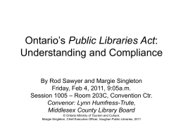 Ontario`s Public Libraries Act: Understanding and