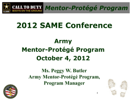 2012 SAME Conference, Army Mentor