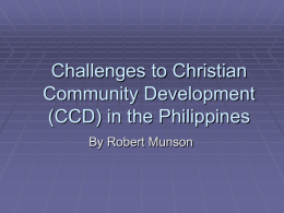 Challenges in Christian Community Development in the Philippines