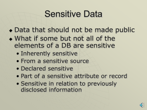 Sensitive Data and Multilevel Database Issues with narration