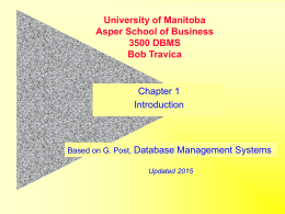 Basic Database Concepts - University of Manitoba