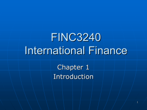 PART 1: The International Financial Environment