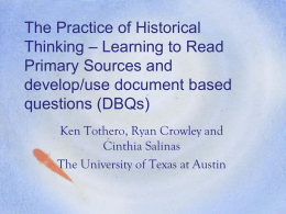 Session 6: The Practice of Historical Thinking – Learning to Read