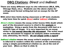 DBQ Citations [Direct and Indirect]